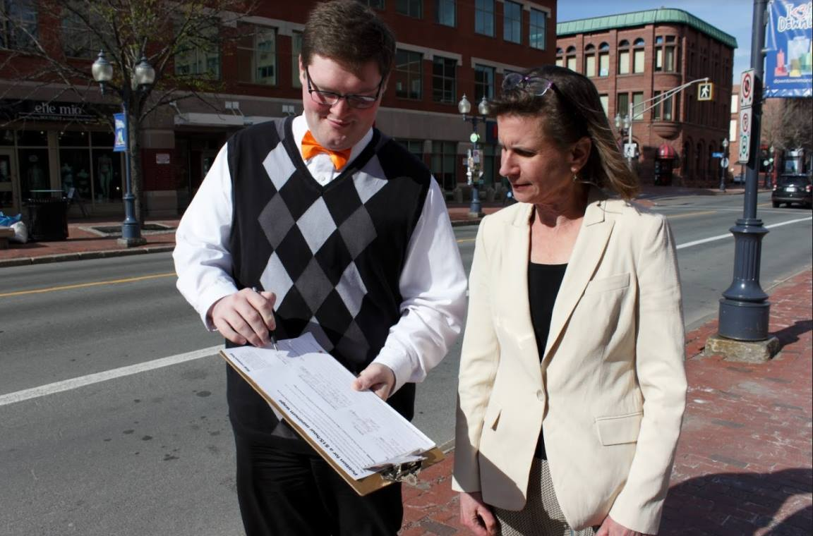 Mackenzie Thomason in a photo with then New Brunswick NDP leader Jennifer McKenzie during the 2019 provincial election. Thomason is now the interim-leader of the New Brunswick NDP.
