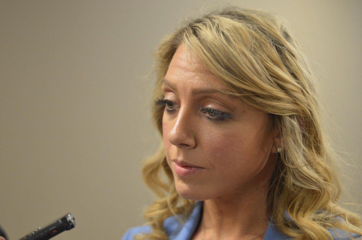 Nicole LaFosse Parker, lawyer for the Nova Scotia Progressive Conservative Caucus, talks to media on March 12, 2019.