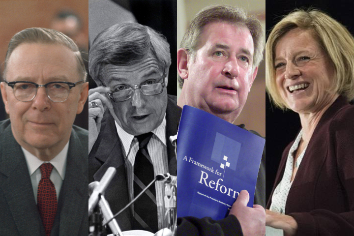 Left to right: Ernest Manning (1943-1968), Peter Lougheed (1971-1985), Ralph Klein (1992-2006), Rachel Notley (2015-present).