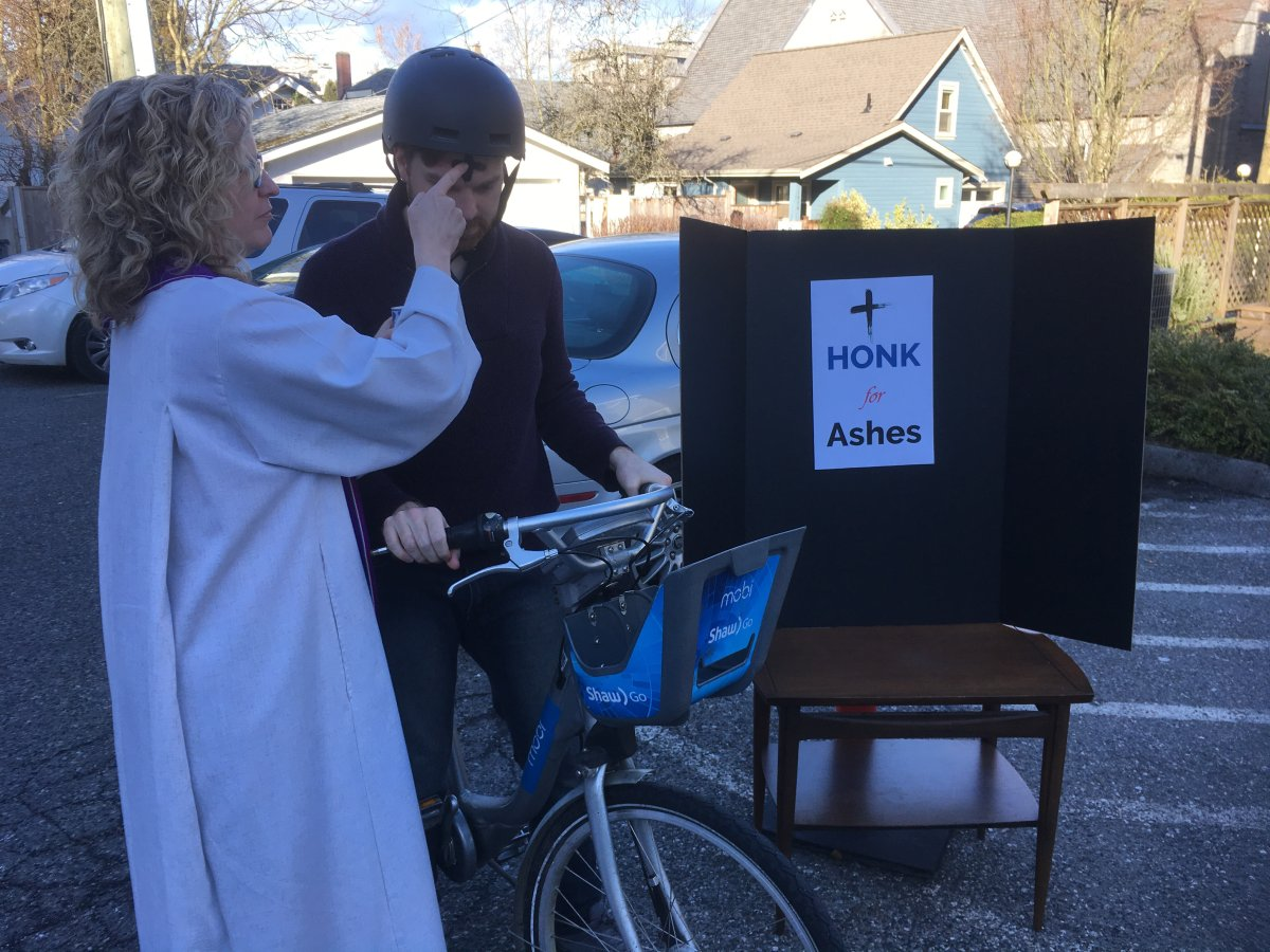 """The Canadian Memorial United Church is doing """"drive-thru"""" blessings in its parking lot for Ash Wednesday."""