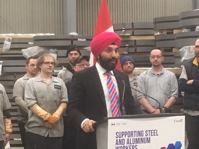 Navdeep Bains, Canada's Minister of Innovation, Science and Economic Development, says the federal government is investing $100 million to ensure the competitiveness of small- and medium-sized steel producers.