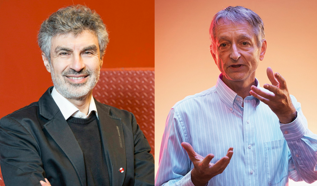 Left: Yoshua Bengio, a professor at the University of Montreal and scientific director at the Artificial Intelligence Institute in Quebec.. Right: Geoffrey Hinton, vice president and engineering fellow at Google and emeritus professor at the University of Toronto.