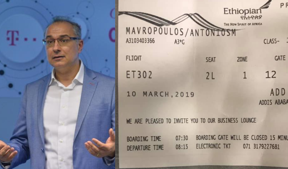 Antonis Mavropoulos posted a picture of his ticket to board the fatal flight ET302 on March 10, 2019.