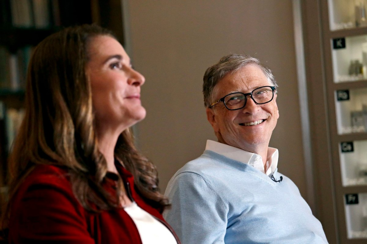 In this Feb. 1, 2019, photo, Bill Gates looks to his wife Melinda as they are interviewed in Kirkland, Wash.