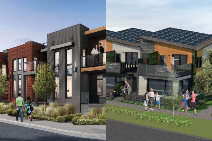 Renderings of the townhomes being built by Encore Master Builder (left) and Carbon Busters (right) in the Blatchford neighbourhood of central Edmonton.