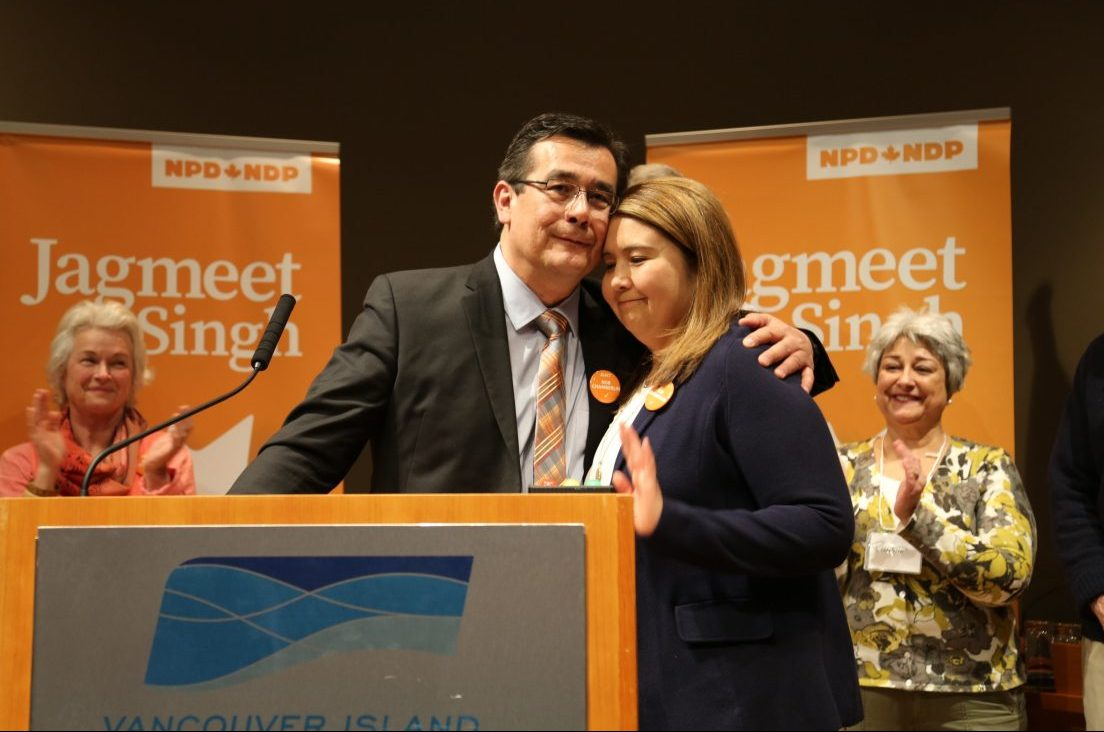 Chief Bob Chamberlin hugs his partner Melissa Louie after winning the NDP nomination for the Nanaimo-Ladysmith federal byelection Saturday.
