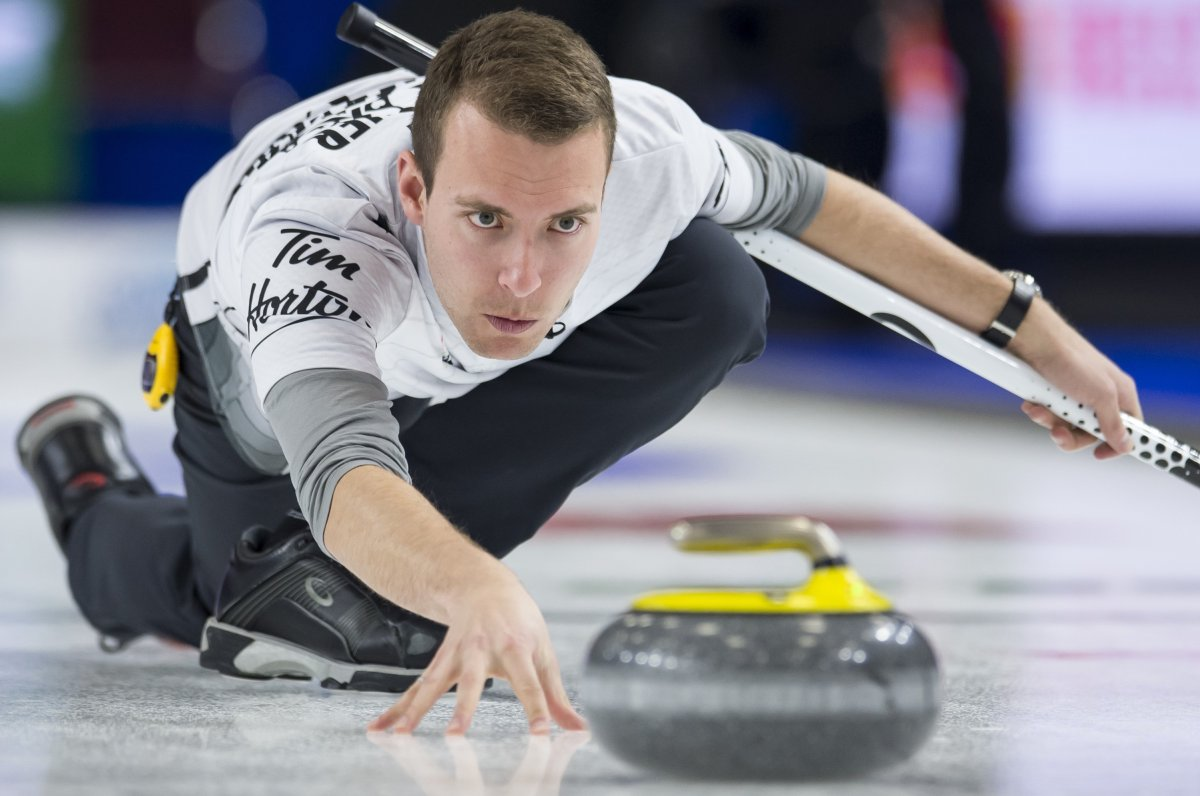 Team Wildcard skip Brendan Bottcher makes a shot during the 18th draw against team Ontario at the Brier in Brandon, Man. Friday, March, 8, 2019.