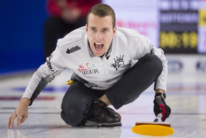 Skip Brendan Bottcher calls a shot during the wildcard game at the Brier in Brandon, Man., Friday, Mar. 1, 2019.