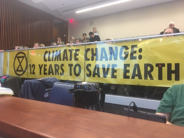 "A number of local residents were in the crowd on Wednesday night as city council declared a climate ""emergency.""."