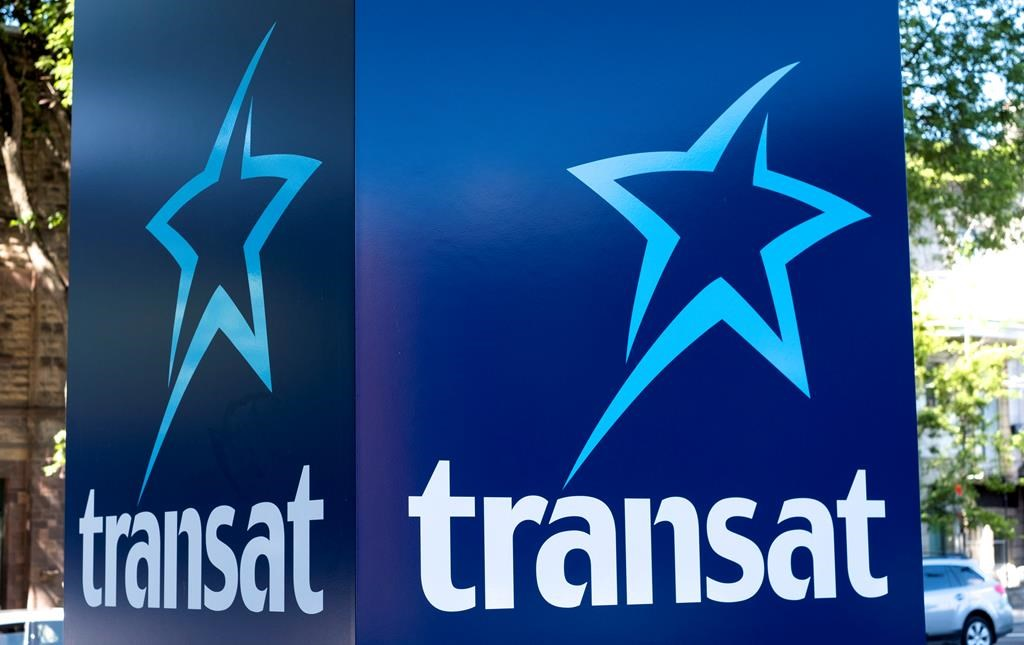 An Air Transat sign is seen in Montreal on May 31, 2016.