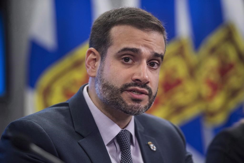 Nova Scotia Education Minister Zach Churchill speaks during a press conference in Halifax on January 24, 2018.
