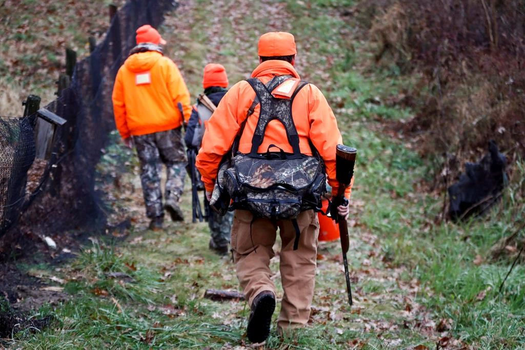 Hunters enter the woods to go deer hunting on the first day of regular firearms deer hunting season, in most of Pennsylvania, Monday, Nov. 26, 2018 in Zelienople, Pa. An Alberta hunters and fishers group says a provincial deal on Metis hunting rights could lead to wildlife being overharvested.