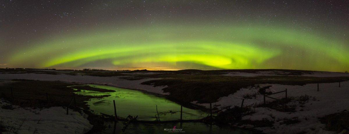 Northern Lights near Alix, Alta. on March 28, 2019.