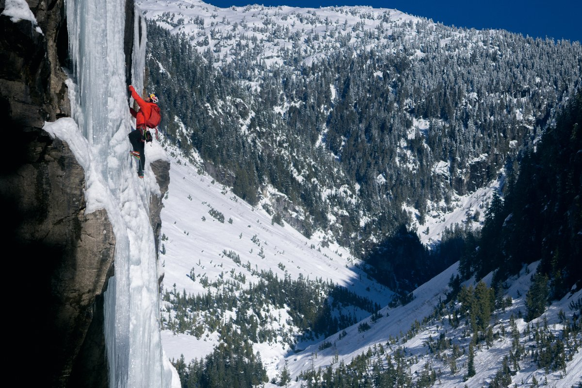 A trio of Canadian climbers has mounted the first-ever successful ascent of the country's tallest waterfall.