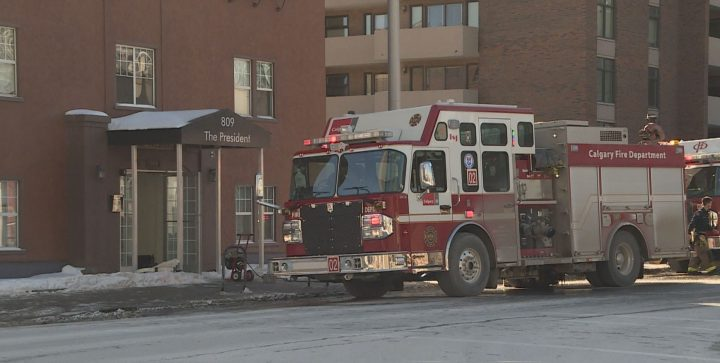Crews responded to a fire in downtown Calgary on Sunday.
