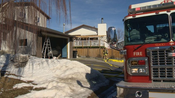 Crews were called to a northeast Calgary garage fire on Monday morning.