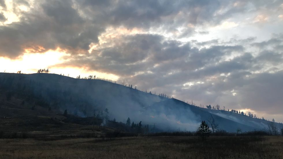 Two small wildfires burn through grass and brush on the Neskonlith 1 Reserve near Chase, B.C.