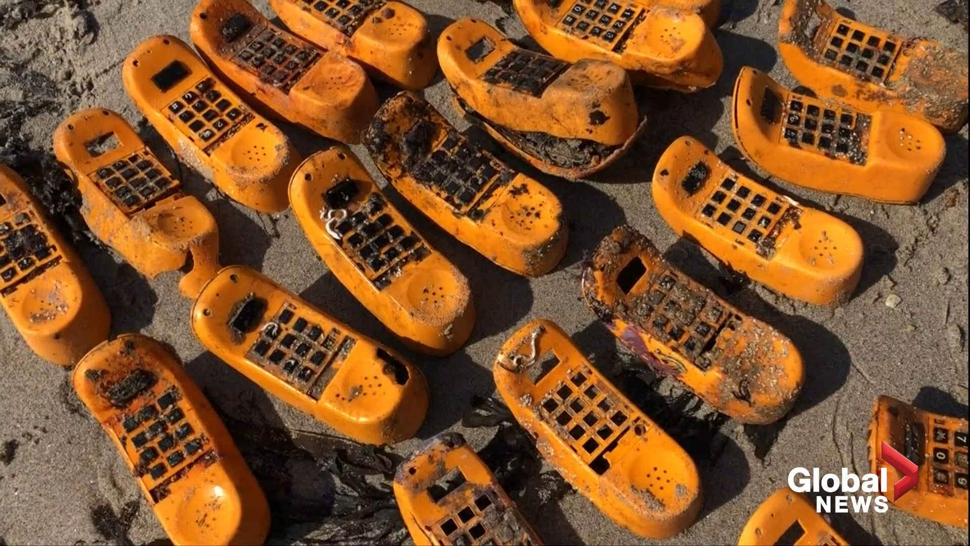 Garfield Phones Have Washed Up On French Shores For Decades Now We Know Where They Came From National Globalnews Ca