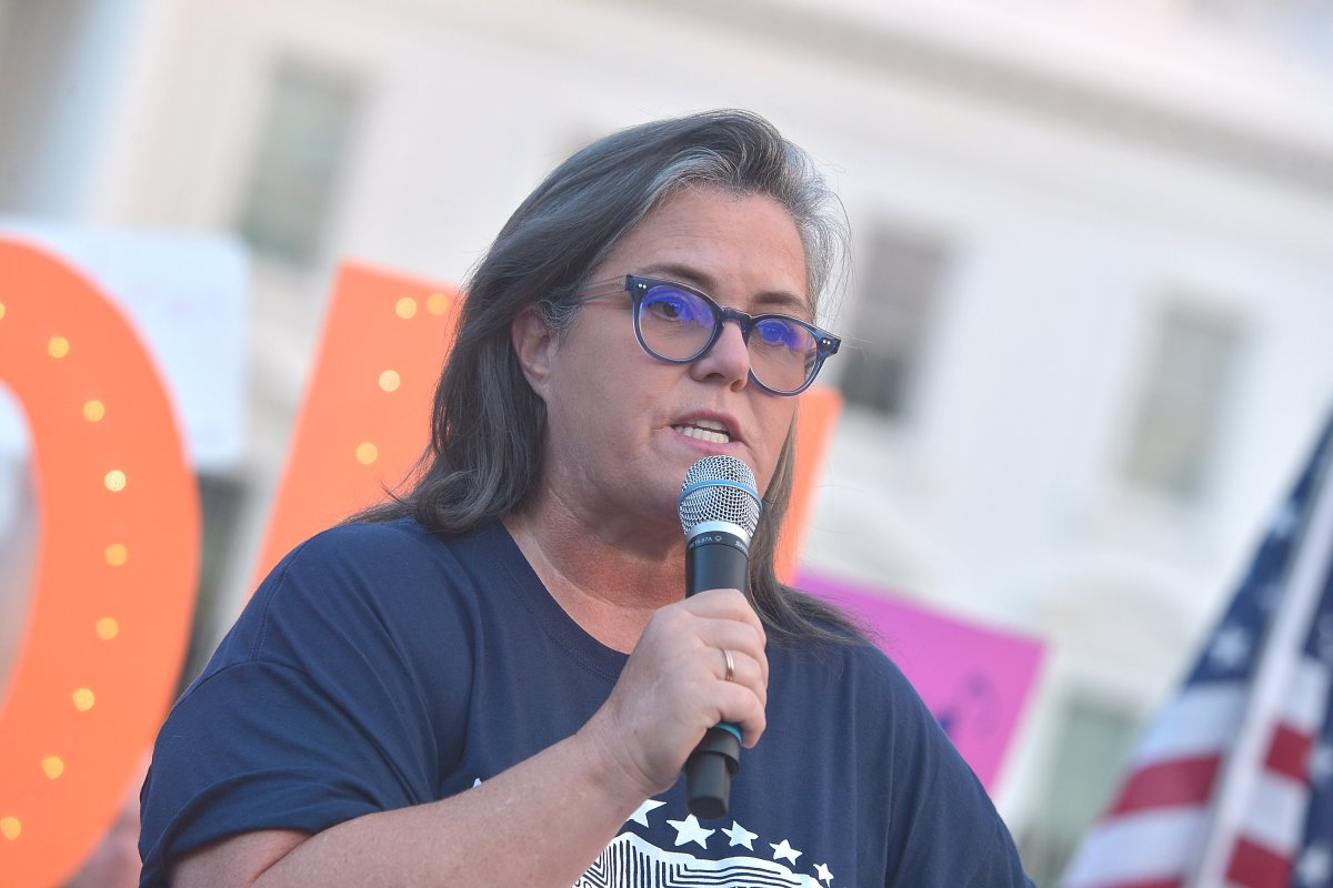 Rosie O'Donnell speaks at the #KremlinAnnex singing protest in front of the White House on August 6, 2018, in Washington, D.C.