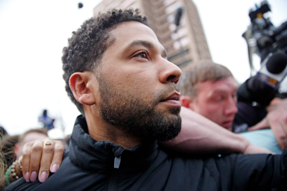 'Empire' actor Jussie Smollett leaves Cook County jail after posting bond on Feb. 21, 2019 in Chicago, Illinois.