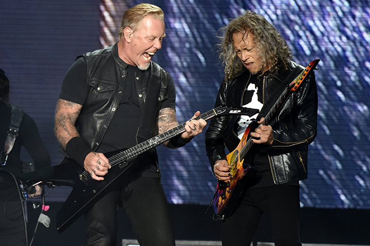 James Hetfield (L) and Kirk Hammett of Metallica perform during the 2017 Outside Lands Music and Arts Festival at Golden Gate Park on Aug. 12, 2017 in San Francisco, Calif.