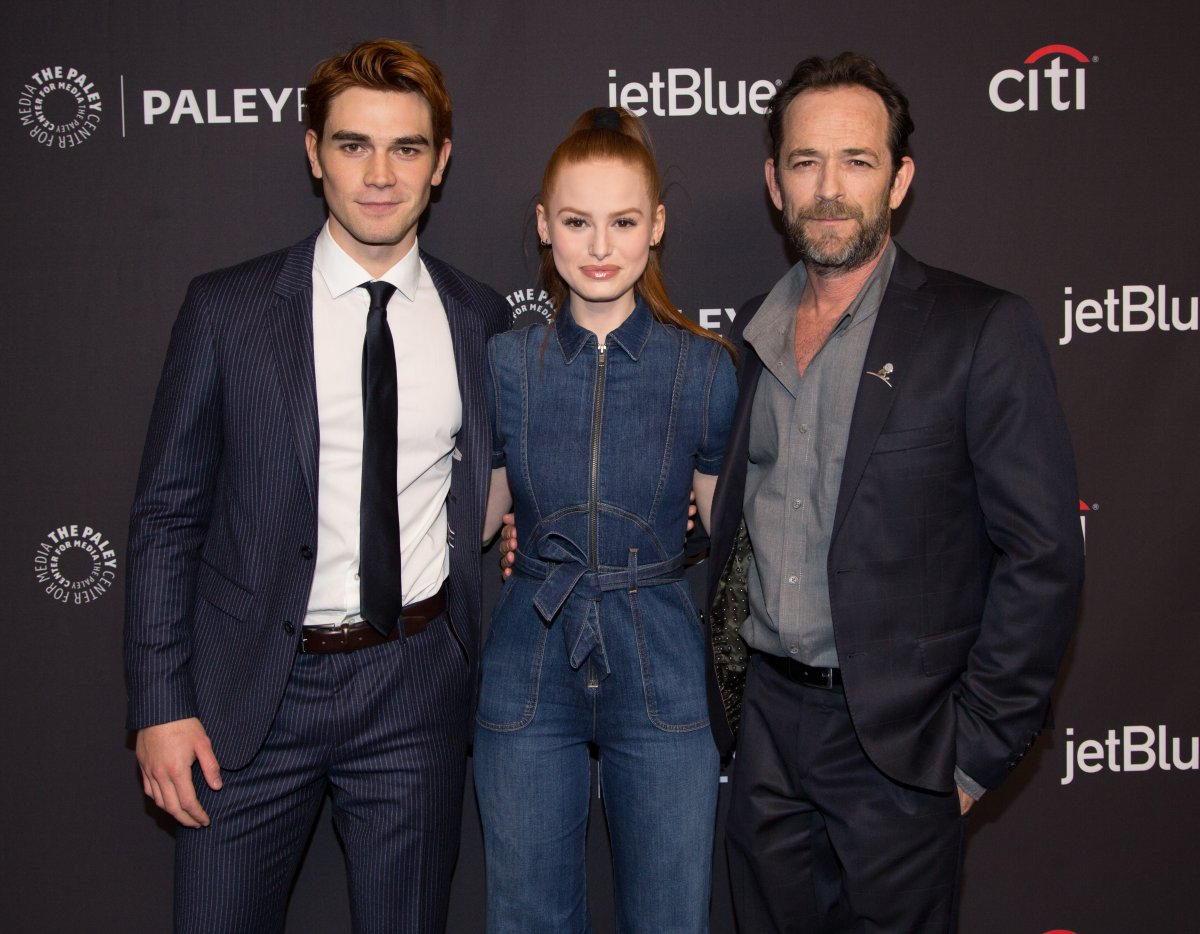 (L-R) KJ Apa, Madelaine Petsch and Luke Perry arrive for the 2018 PaleyFest Los Angeles - CW's 'Riverdale' at Dolby Theatre on March 25, 2018 in Hollywood, California.