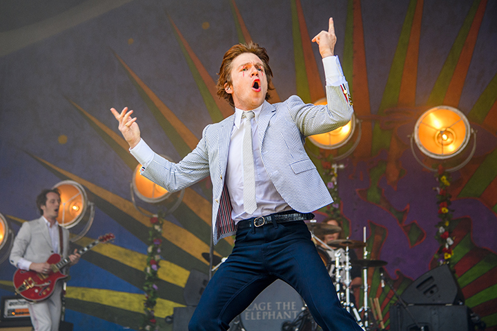 Matt Shultz of Cage the Elephant performs at Fair Grounds Race Course on May 5, 2018 in New Orleans, La.