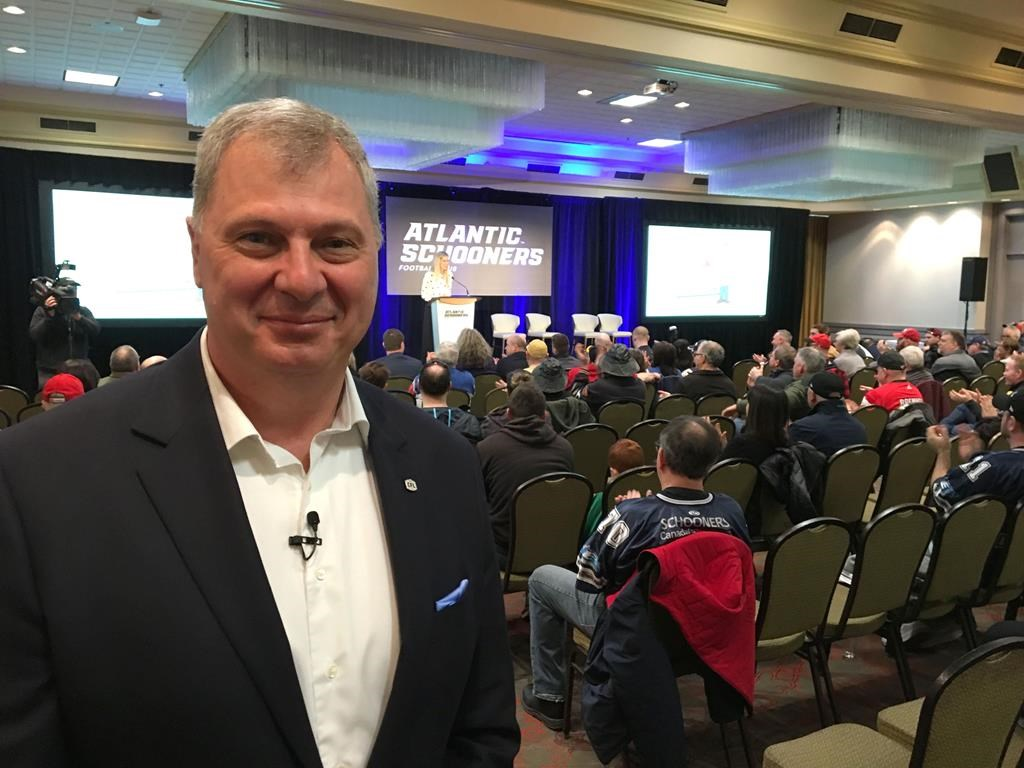 CFL commissioner Randy Ambrosie attends an event in Halifax, Saturday, March 30, 2019.