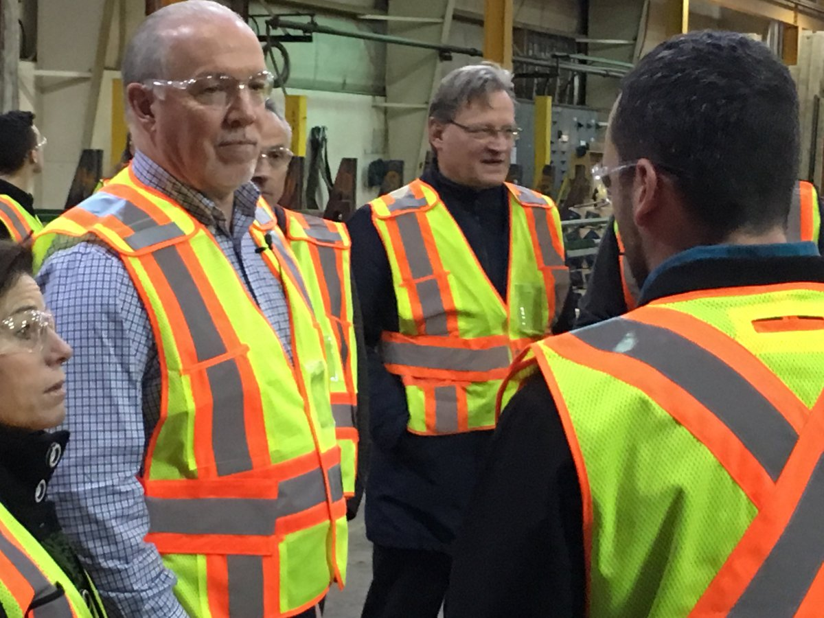 B.C. Premier John Horgan was in the South Okanagan on Wednesday to announce B.C.'s  adoption of building code changes that allow for the construction of taller wooden buildings.
