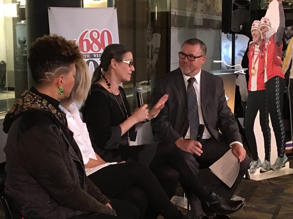CJOB's Kelly Moore chats with Olympians Susan Auch, Michelle Sawatzky-Koop, and Wanda Guenette at the launch of a new exhibit celebrating women in sport.