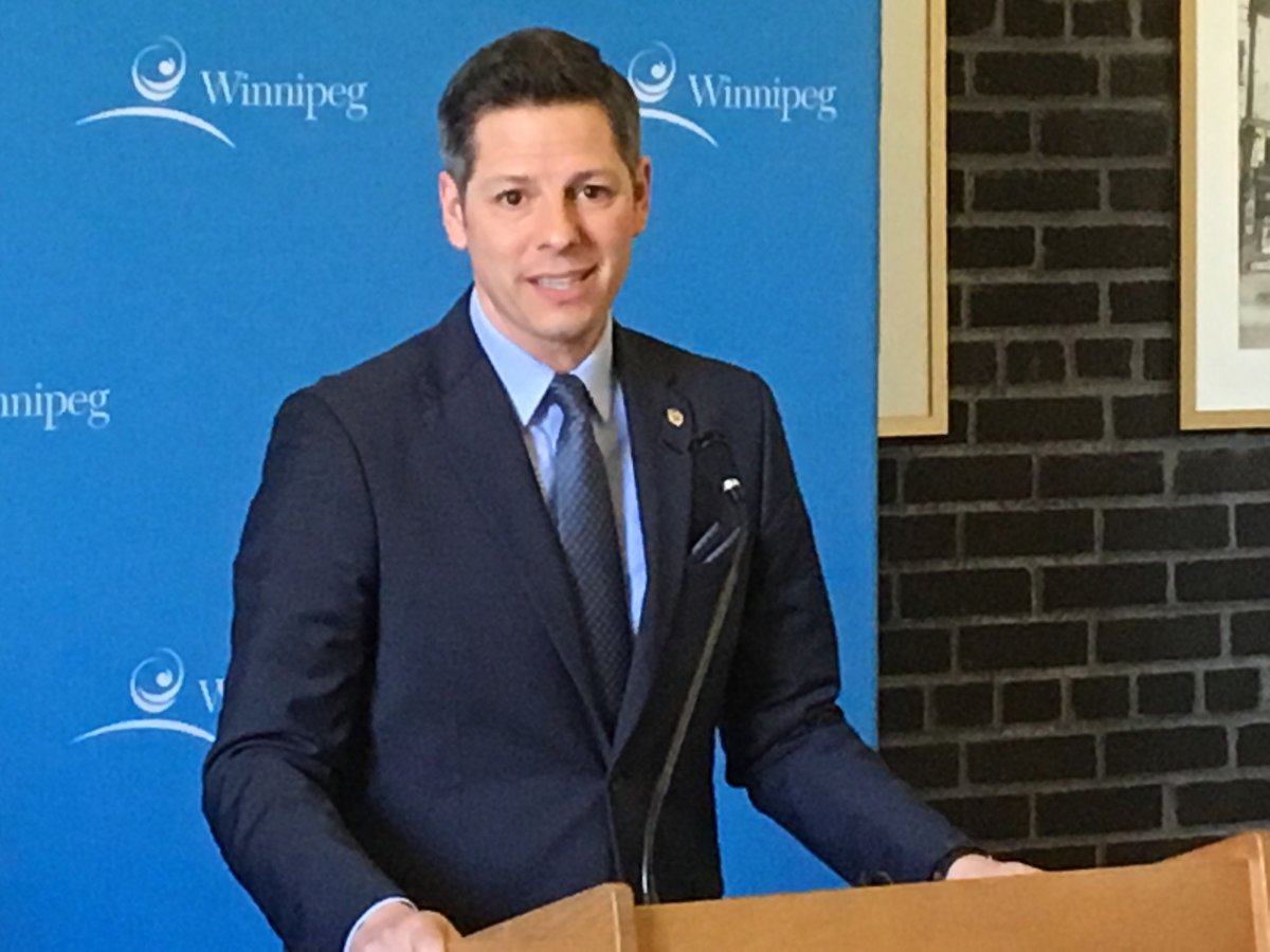 Mayor Brian Bowman speaks to media after the tabling of the city's 2019 budget.