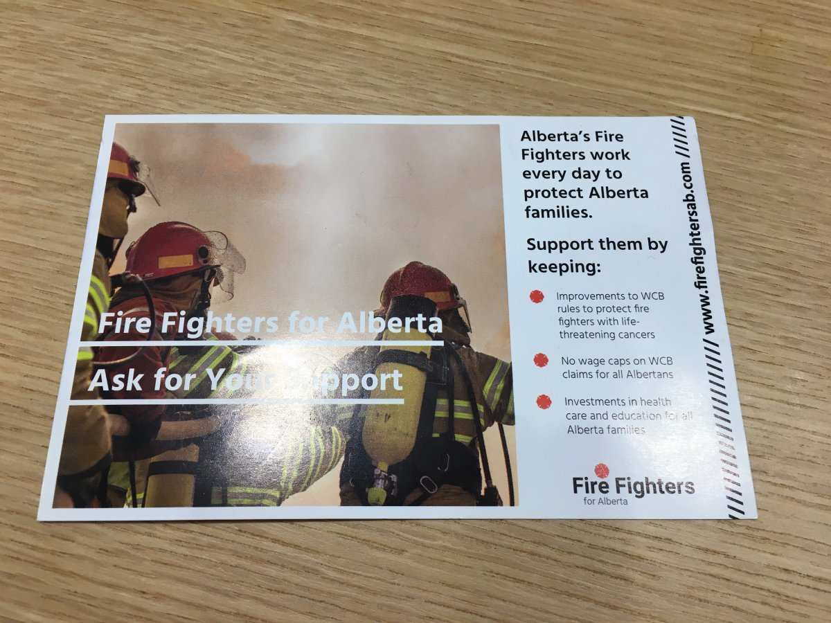 The back of a handbill from the Fire Fighters for Alberta, distributed to Calgary-Varsity endorsing the NDP candidate.