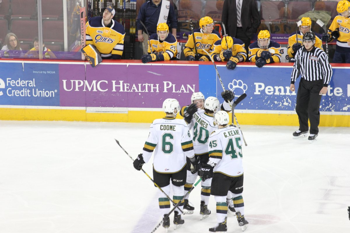 The London Knights celebrate a goal in a 3-1 win over the Erie Otters on March 3, 2019, that gave them a third straight victory and the Midwest Division title.
