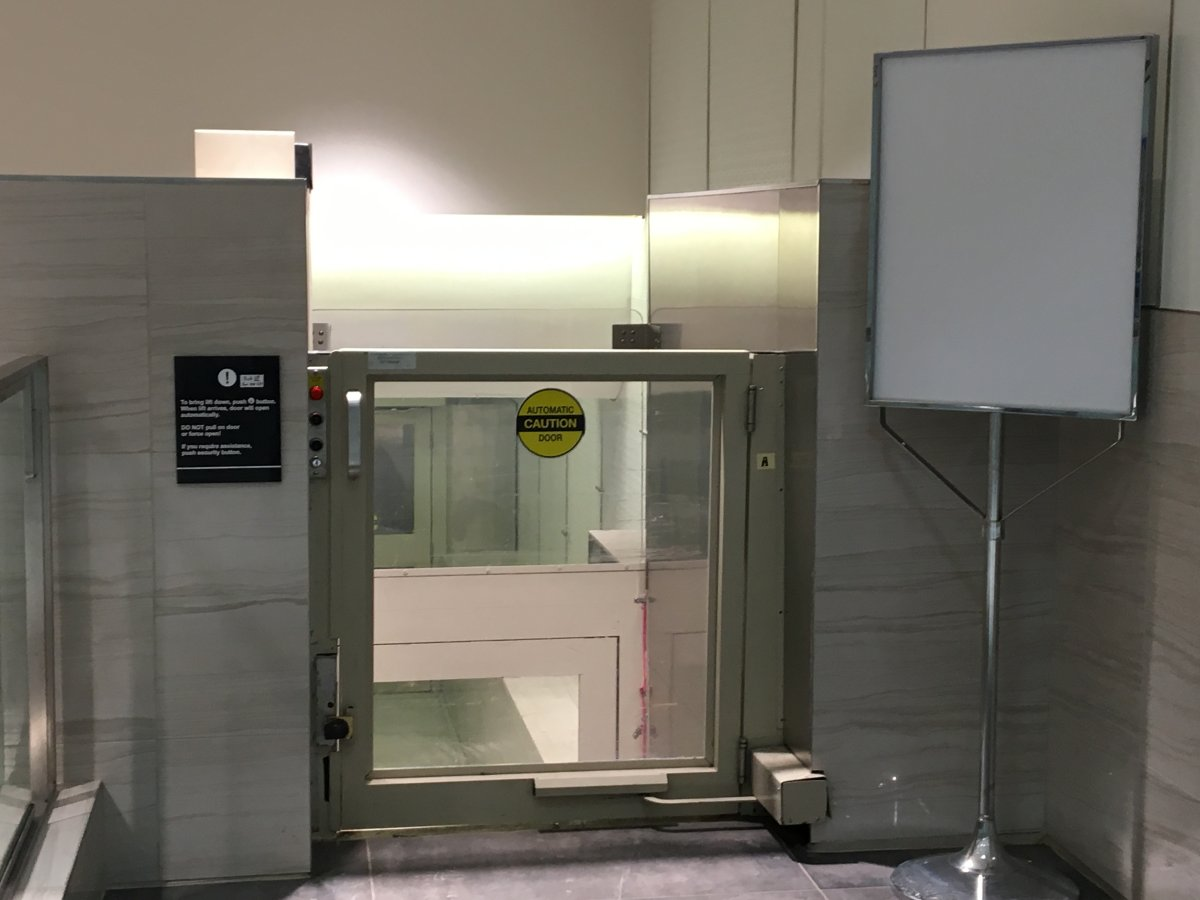 The 'out of order' sign has been removed and the lift is once again operational.