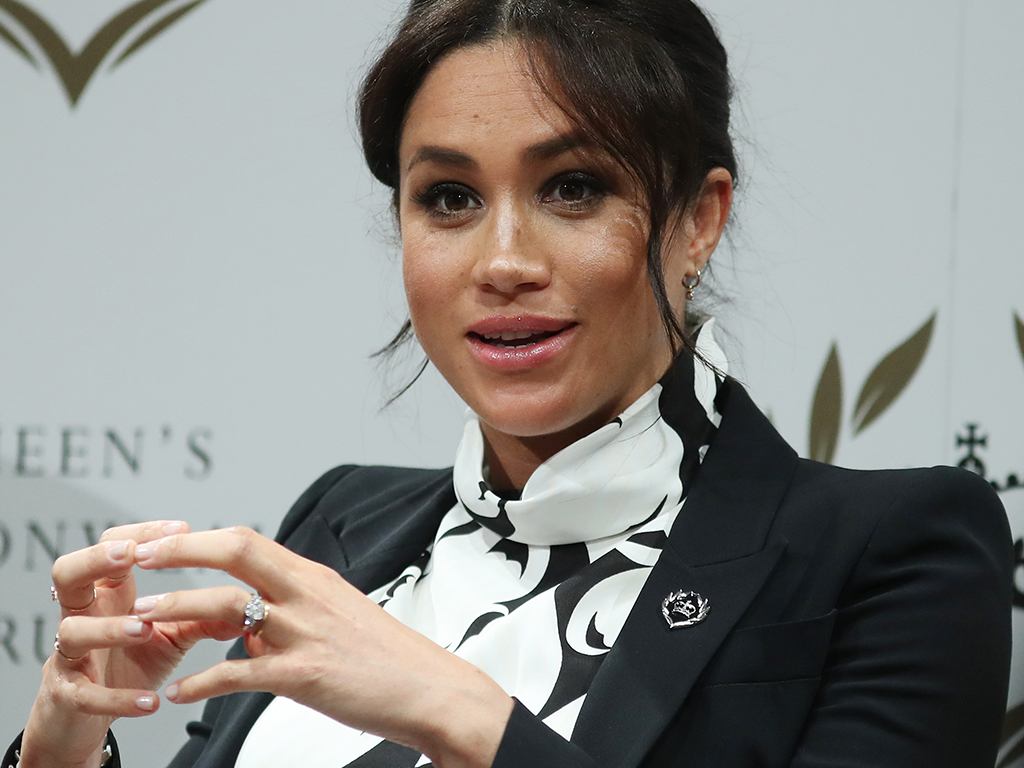 Meghan Markle at a panel discussion convened by the Queen's Commonwealth Trust to mark International Women's Day on March 8, 2019 in London, England.