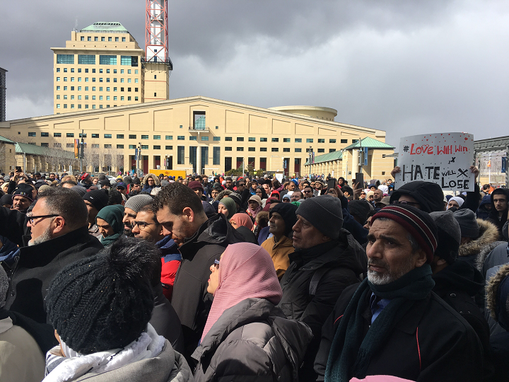 Dozens of people gathered outside of Mississauga city hall on Saturday afternoon to show sympathy for the victims of the New Zealand mosque attacks.