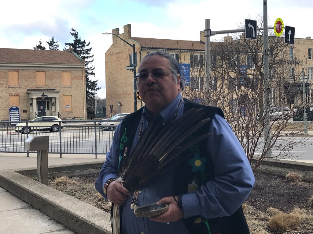Chippewa of the Thames First Nation Chief, Myeengun Henry, led a smudging ceremony outside the courthouse after David Norton was sentenced for the sexual abuse of four First Nation boys.