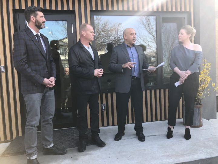 Mayor Don Iveson and TV home expert Mike Holmes were on hand for the unveiling of an Edmonton office space run completely off the power grid. Friday, March 22, 2019.