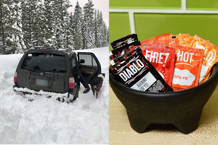 An Oregon man sustained himself and his dog on a few packets of taco hot sauce while stuck in an SUV on a snow-covered road for five days before being found by a passing snowmobiler.