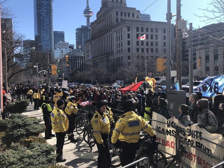 Counter-protesters at a far-right, anti-Islam rally in Toronto in 2019.