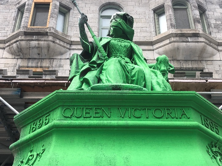 A bronze statue of Queen Victoria in downtown Montreal was vandalized overnight. Sunday, March 24, 2019.