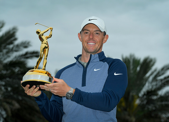 PONTE VEDRA BEACH, FL - MARCH 17: Rory McIlroy, of Northern Ireland, poses with THE PLAYERS Championship Trophy after winning THE PLAYERS Championship on THE PLAYERS Stadium Course at TPC Sawgrass on March 17, 2019, in Ponte Vedra Beach.