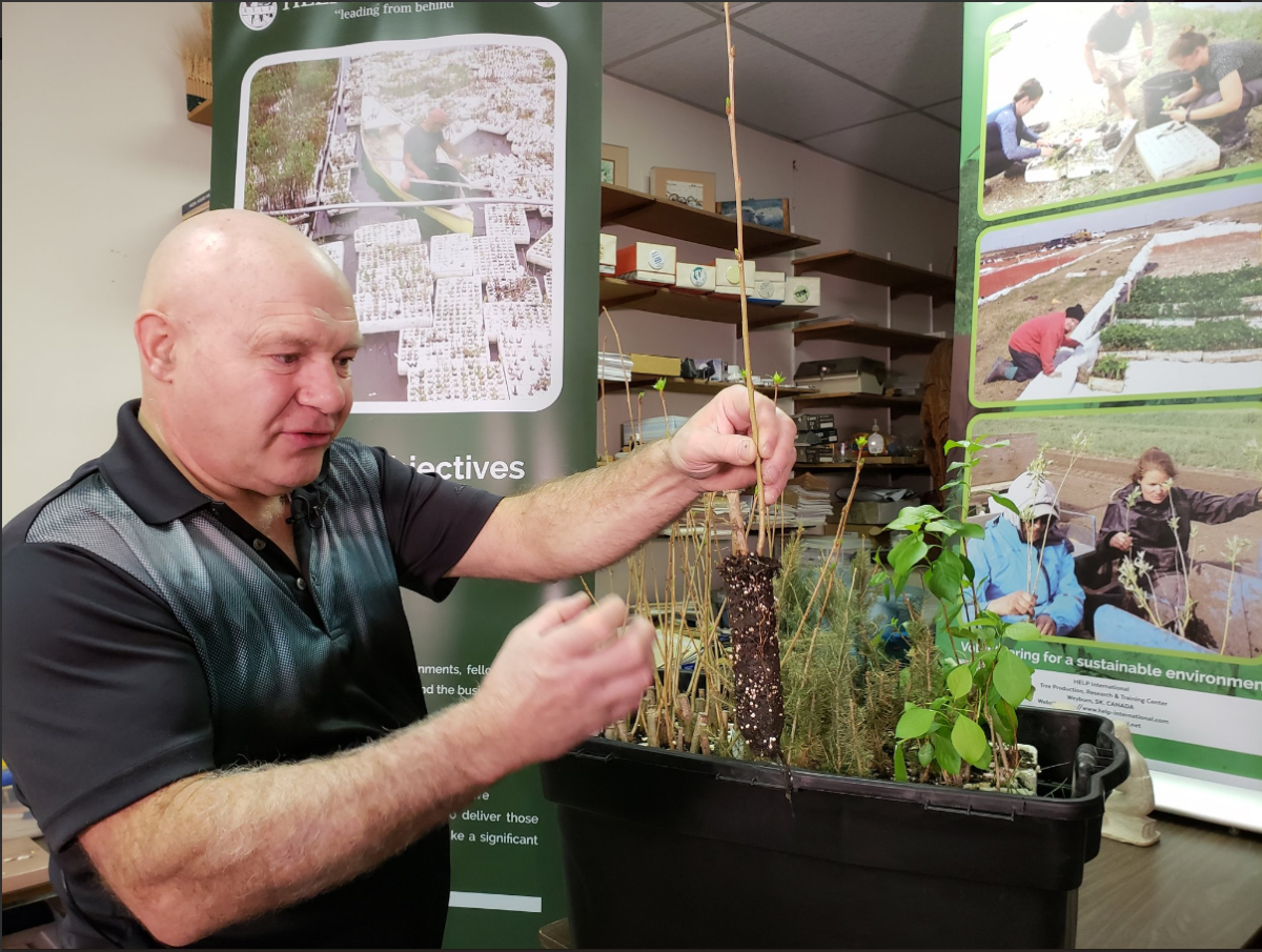 Rodney Sidloski holds seedling from his Floating Tree Production System.