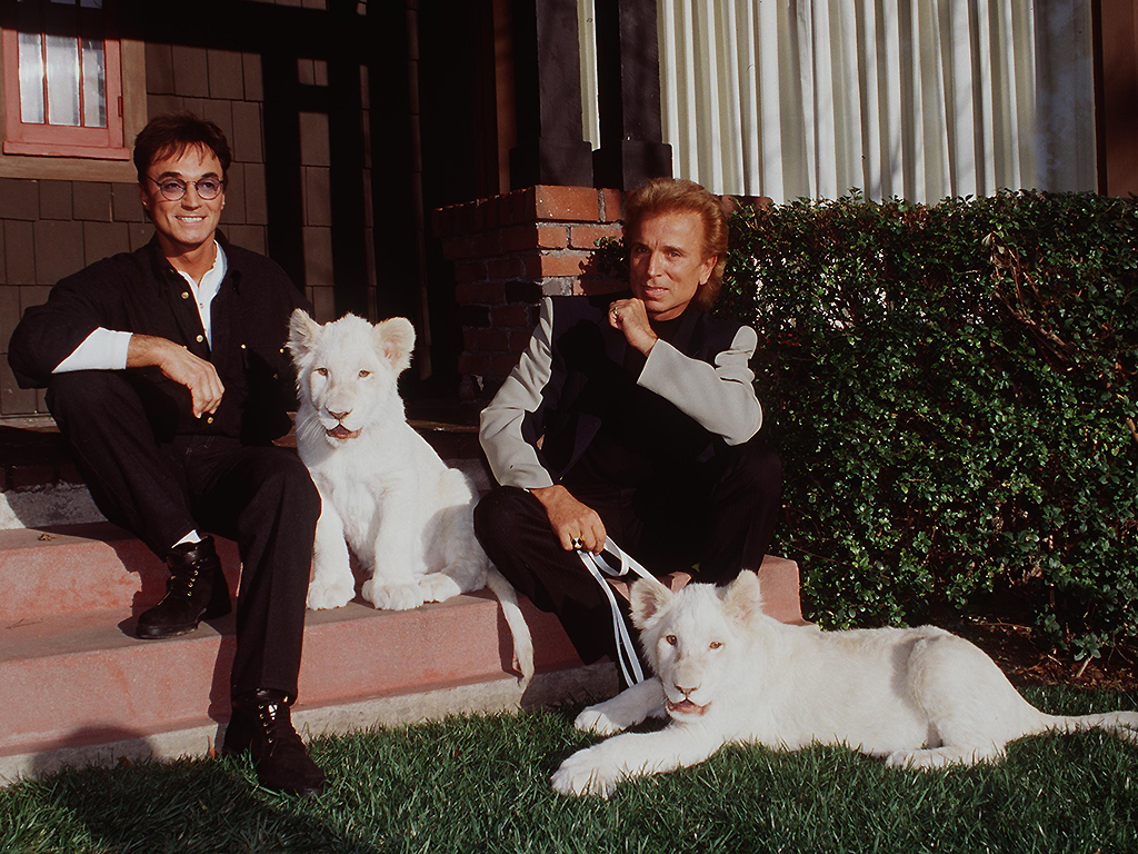 Siegfried and Roy pose with their white lions on January 18, 1996 in Los Angeles, Calif.