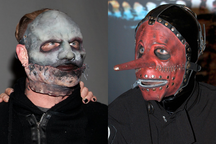 (L-R) Corey Taylor and Chris Fehn in their respective Slipknot outfits.