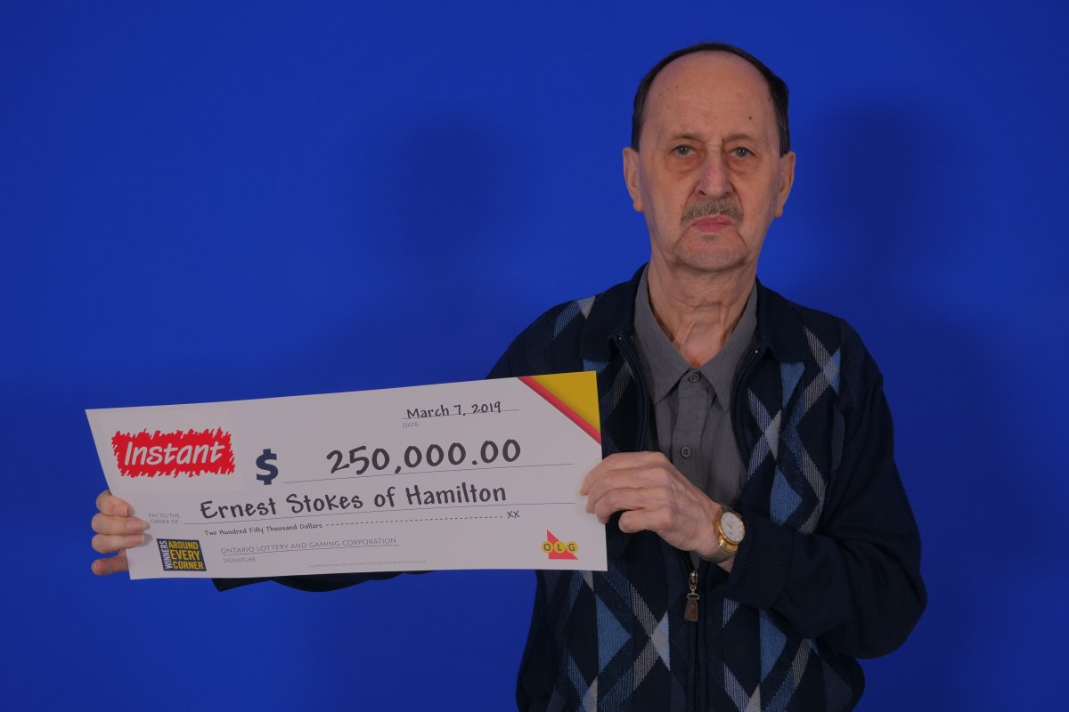 Ernest Stokes of Hamilton won a $250,000 top prize with Instant Sonic Multiplier.