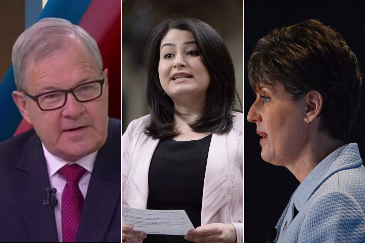 Lawrence MacAulay (left), Maryam Monsef (centre) and Marie-Claude Bibeau got new roles in cabinet in a small shuffle announced Friday in Ottawa.