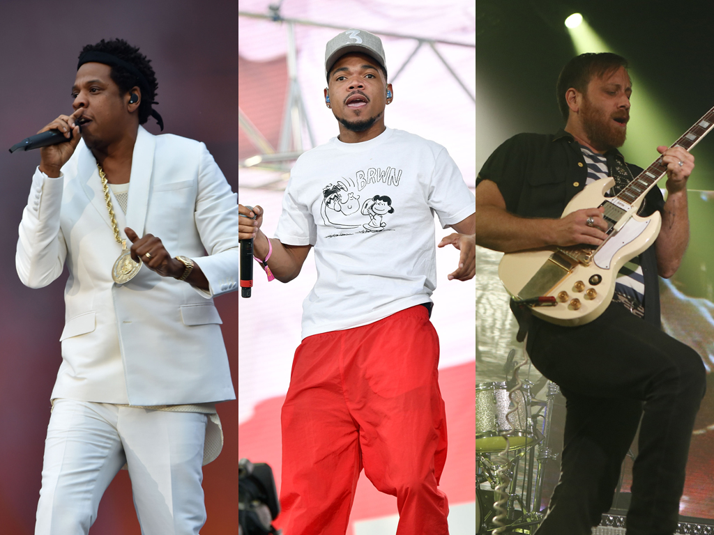 (L-R) Jay-Z, Chance the Rapper and Dan Auerbach of the Black Keys performing live onstage,.