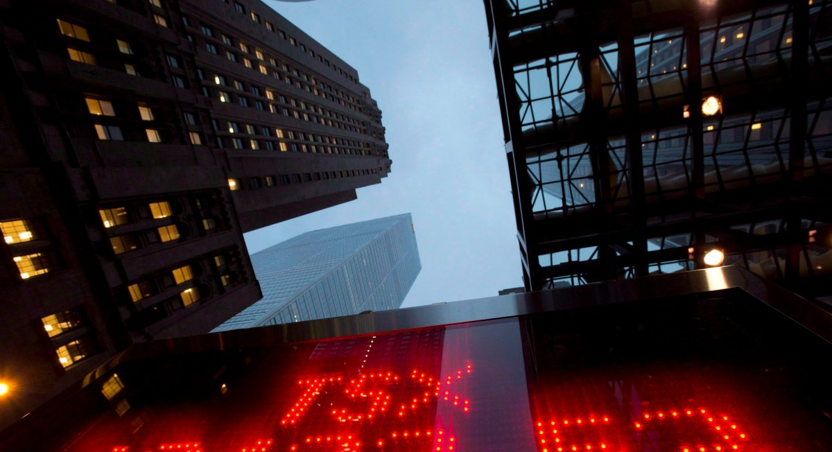 A TSX tote board is pictured in Toronto, on Dec. 31, 2012. The exchange hit an all-time high close on Thursday.