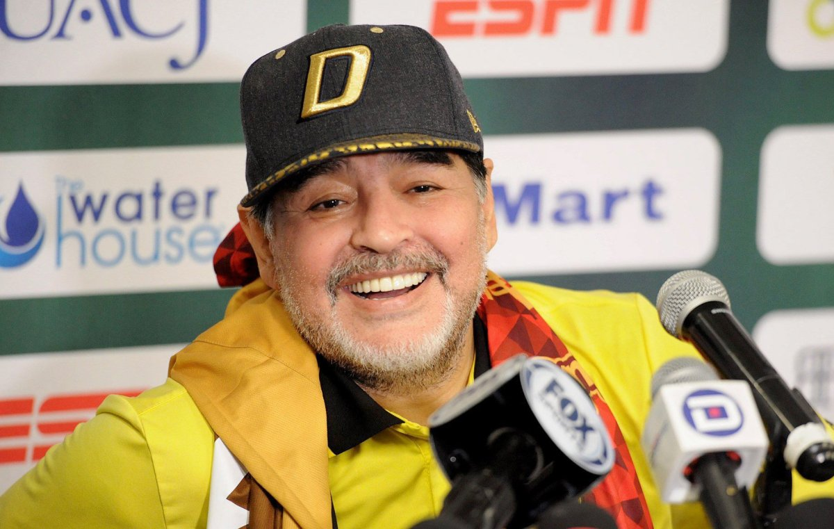 Dorados de Sinaloa's head coach, Argentinian Diego Armando Maradona, speaks during a press conference in Ciudad Juarez, Mexico, 24 November 2018.